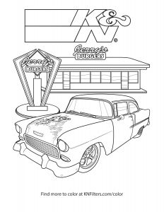Old Cars Coloring Pages - 1955 Chevrolet Bel Air K&n Printable Coloring Page 9r