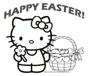 Online Easter Coloring Pages - Hello Kitty Happy Easter Coloring Pages 13d