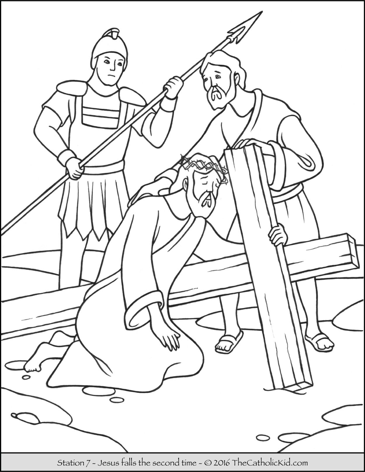 preschool bible story coloring pages Download-Stations of the Cross Coloring Pages 7 Jesus Falls the Second Time 4-j