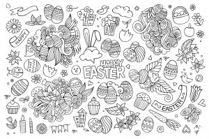 Printable Coloring Pages Creation Story - Easter Hand Drawn Funny Symbols and Objects Eggs Cakes Flowers 3s