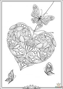 Printable Coloring Pages Of Flowers and butterflies - Heart butterfly Coloring Page Sheet 5d
