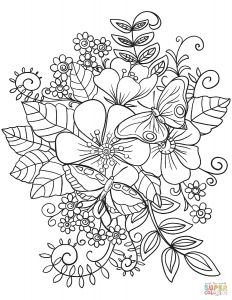 Printable Coloring Pages Of Flowers and butterflies - Coloring Flowers and butterflies 11o