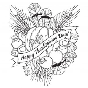 Printable Happy Thanksgiving Coloring Pages - Thanksgiving Day Drawing to Print and Color with Feathers Chestnuts Ve Ables and Fruits Drawin In Cartoon Stylefrom the Gallery events Thanksgiving 20g