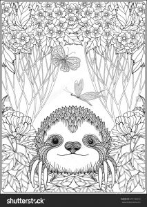 Printable Sloth Coloring Pages - Cute Sloth In forest Coloring Page for Adults Shutterstock 13s