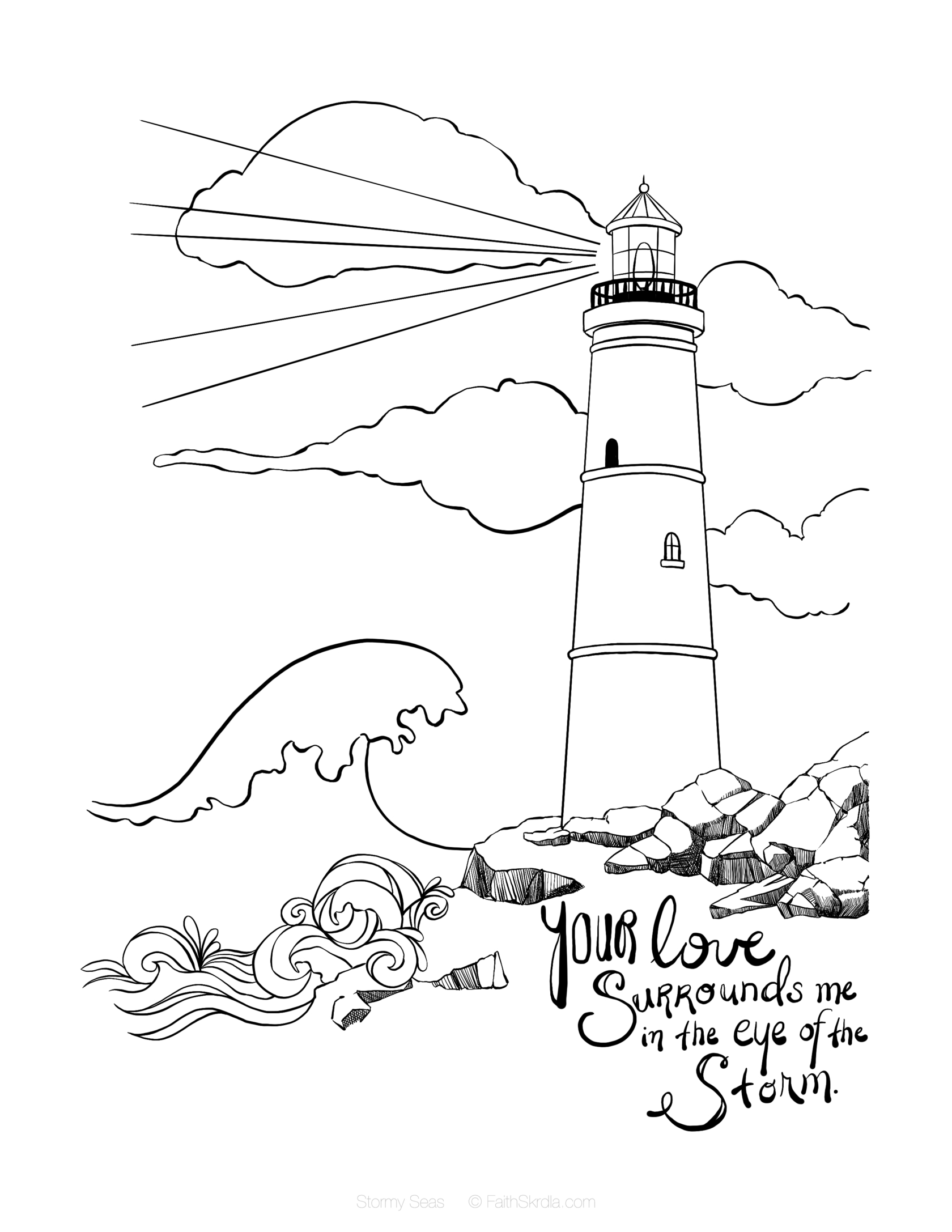 psalm 119 105 coloring pages Download-Romans 8 28 Bible Journaling themes of light guidance rock Jesus stilling the storm Mark 4 39 Psalm 107 23 31 etc Lighthouse Free Coloring Page 13-t
