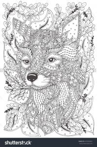 Realistic Fox Coloring Pages - Fox Hand Drawn with Ethnic Floral Doodle Pattern Coloring Page Zendala for Adults 15n