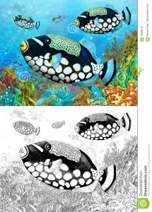 Saltwater Fish Coloring Pages - Happy and Colorful Illustration for Children 7b