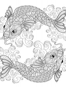 Saltwater Fish Coloring Pages - Yin and Yang Pieces Symbol Fish Coloring Page for Adults 12p