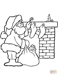 Santa Claus Coloring Pages - Santa Near Fireplace 16j