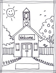 School Coloring Pages Printable - School House Coloring Page 11p