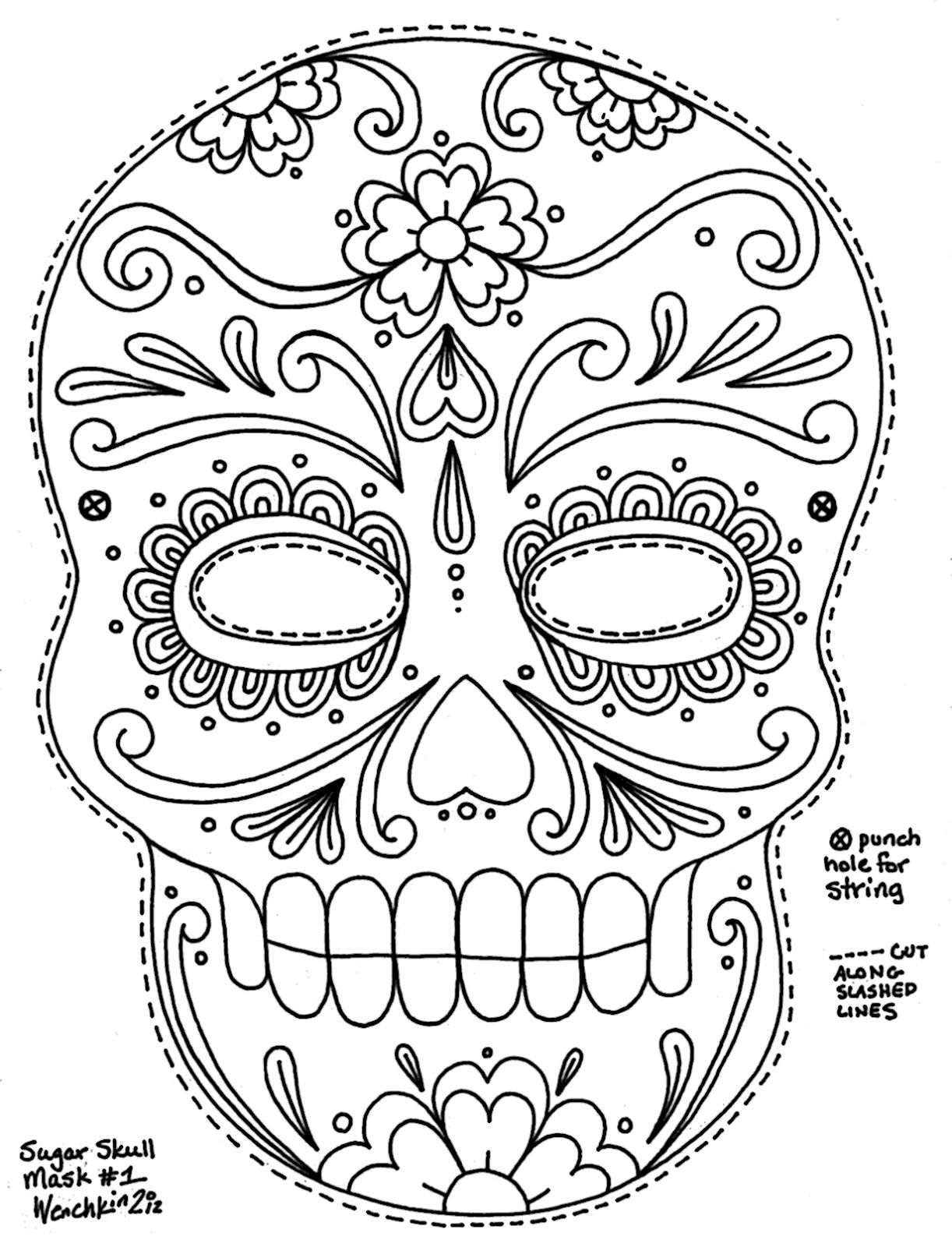 skeleton head coloring pages Collection-sugar skull coloring pages 17-d