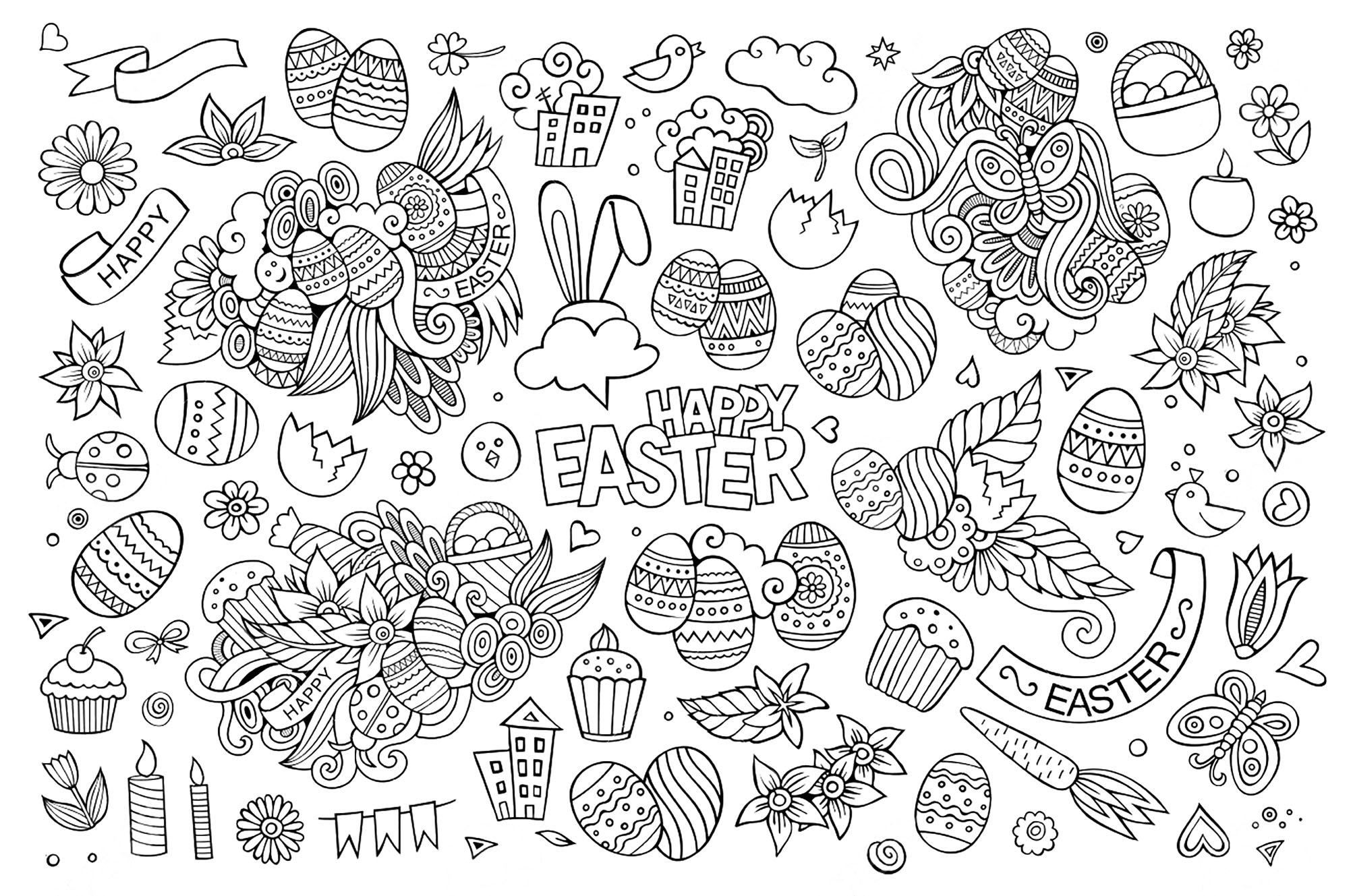 special olympics coloring pages Collection-Easter hand drawn funny symbols and objects eggs cakes flowers 12-n