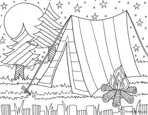 Summer Preschool Coloring Pages - Camping Coloring Page for the Kids 8r