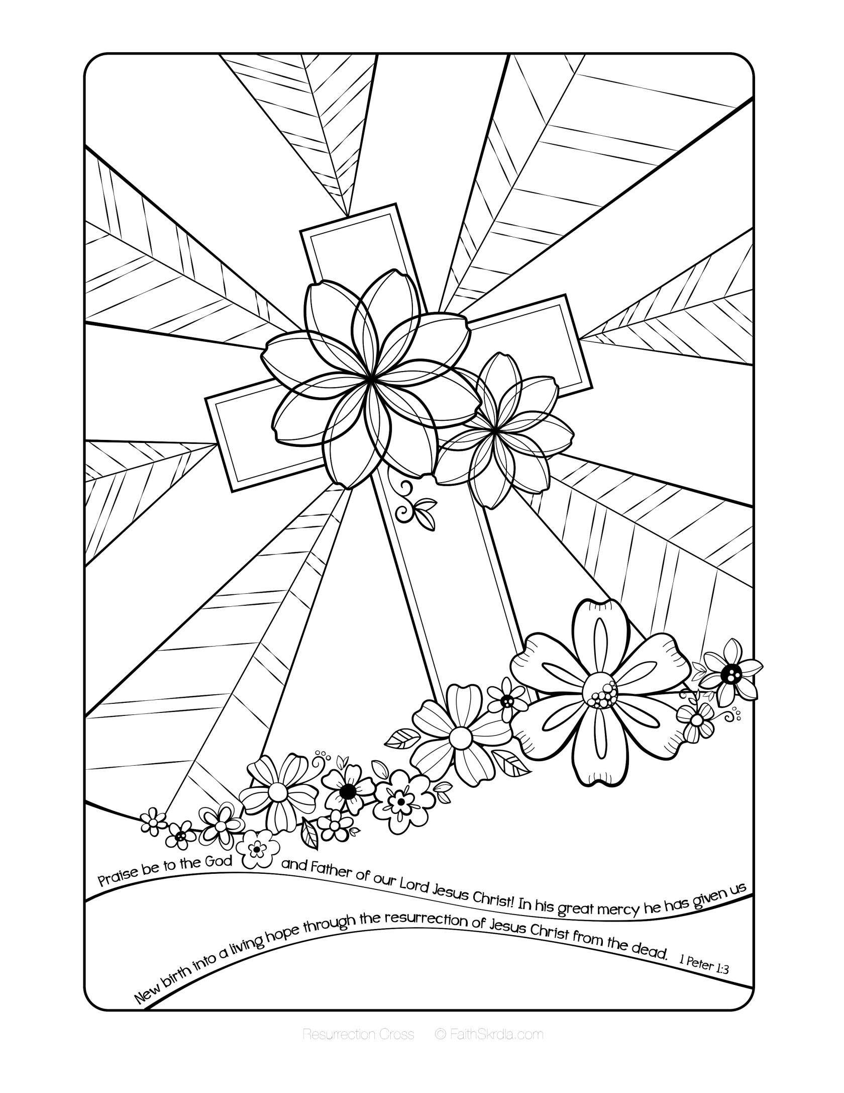 sunday school coloring pages easter Download-Free Easter Adult Coloring Page by Faith Skrdla Resurrection Cross 1 Peter 1 3 Bible Verse Christian coloring page for adults and grown up kids 17-r