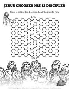 Temptation Of Jesus Coloring Pages for Kids - Jesus Chooses His 12 Disciples Bible Mazes This 12 Disciples Bible Maze is A Fun Activity Designed to Help Your Children Further Engage with This Important 9l