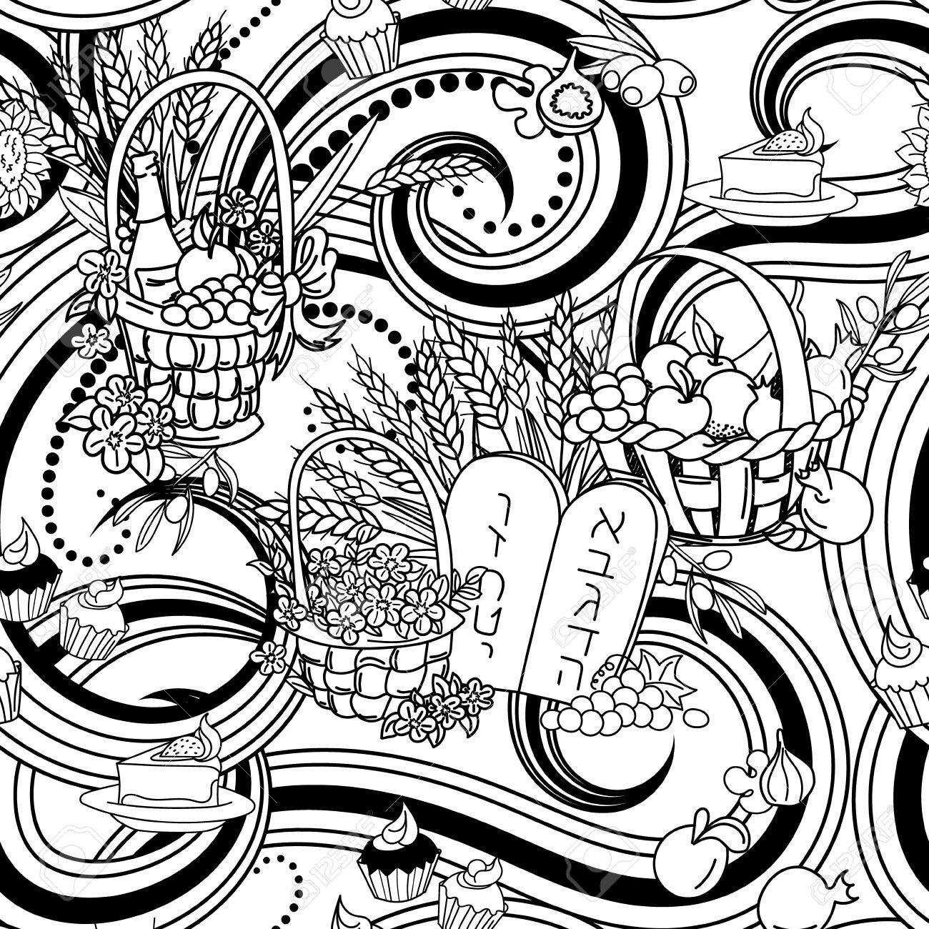 torah tots coloring pages Download-shavuot seamless pattern background shavuot symbols black and white coloring page vector illustration 17-q
