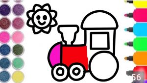 Train Coloring Pages for toddlers - Easy Train and Sun Coloring Page for Kids and Children Art Learn to Color Draw 8j