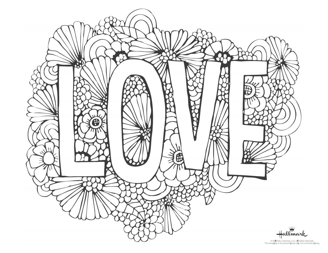 """valentine day coloring pages Collection-A Valentine s Day coloring page with the word """"Love"""" and 18-b"""