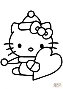 Valentines Day Hearts Coloring Pages - Click the Hello Kitty with Valentines Day Heart 14f