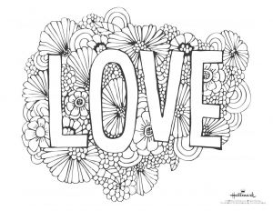 """Valentines Day Hearts Coloring Pages - A Valentine S Day Coloring Page with the Word """"love"""" and 5e"""