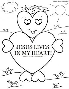 Valentines Day Hearts Coloring Pages - Valentine Color Pages Church House Collection Blog Jesus Lives In My Heart Coloring Page 6k