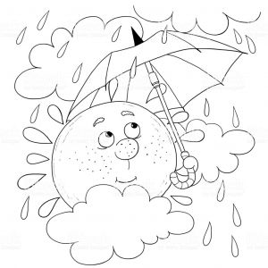 Weather Map Coloring Pages - Cute Sun In the Sky In Rainy Weather Illustration for Children Coloring Page 14h