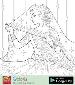 Wedding Coloring Pages to Print - Indian Bride In Saree Wedding Dress Wedding Day Coloring Pages Just Married Marriage Indian Wedding Adult Coloring Pages 17s