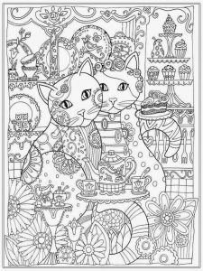 Winged Cat Coloring Pages - Couple Cat Adult Coloring Pages Free 6n