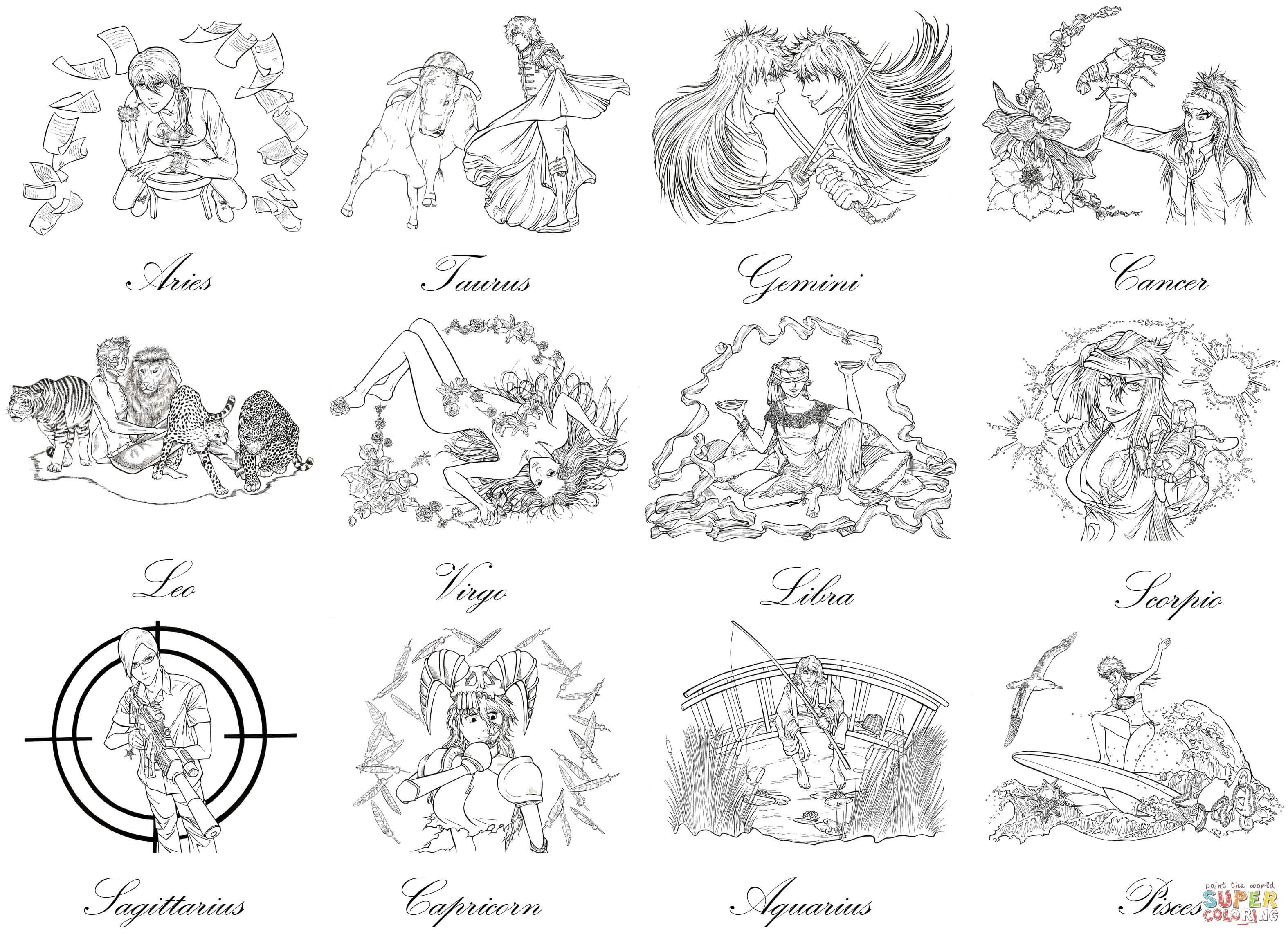 80 Top Coloring Pages Zodiac Signs For Free